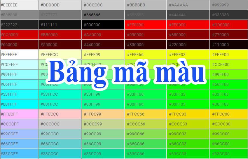 Bảng mã màu online mới nhất hiện nay