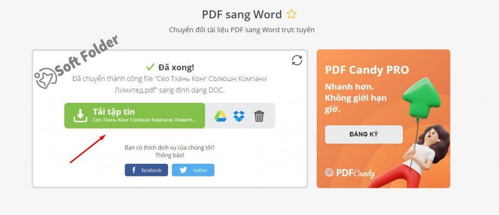 Tải file PDF vừa chuyển sang Word về máy