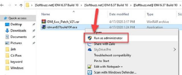 """Cho chạy file """"idman638build16.exe"""""""