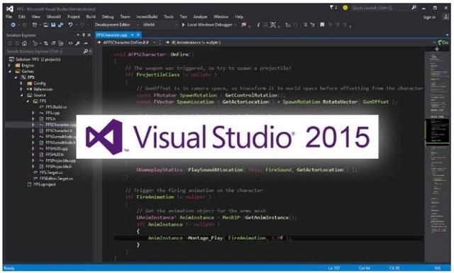 Giao diện Visual Studio 2015 thân thiện