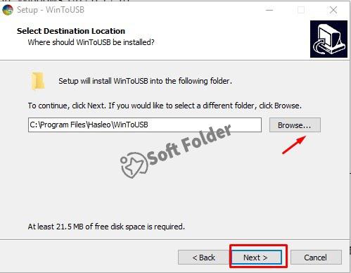 Chọn Browse nếu muốn thay đổi ổ đĩa lưu trữ sau khi cài đặt > Chọn Next để tiếp tục.