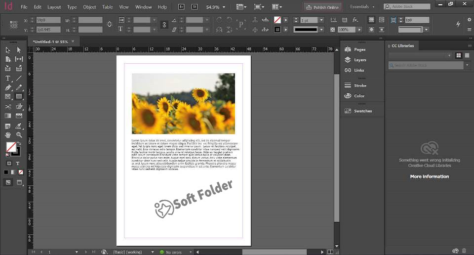 Giao diện Adobe Indesign